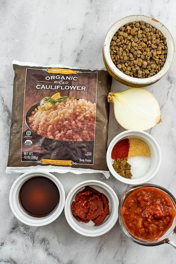 Ingredients to make cauliflower lentil taco meat.