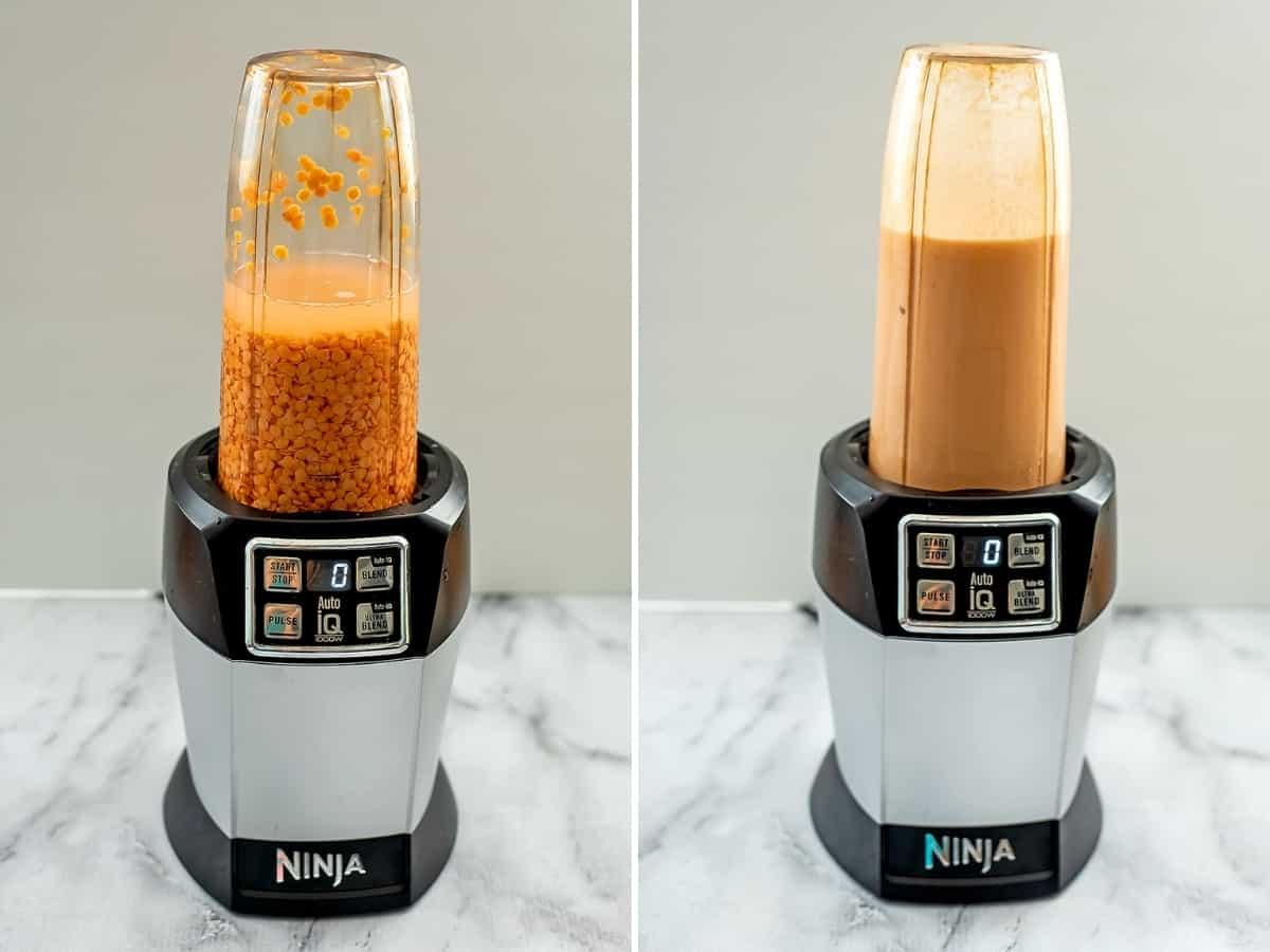 Red lentils in a blender before and after blending.