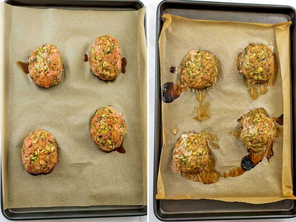 Before and after baking mini turkey meatloaves.
