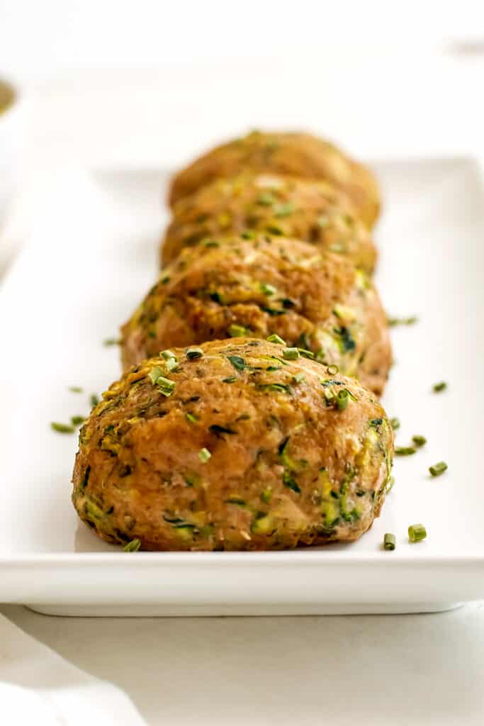 Whole30 Ranch turkey mini meatloaves on a long plate.