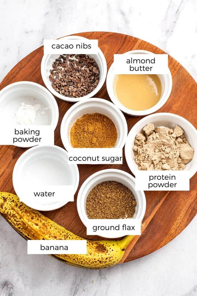 Ingredients to make single serve protein brownies.