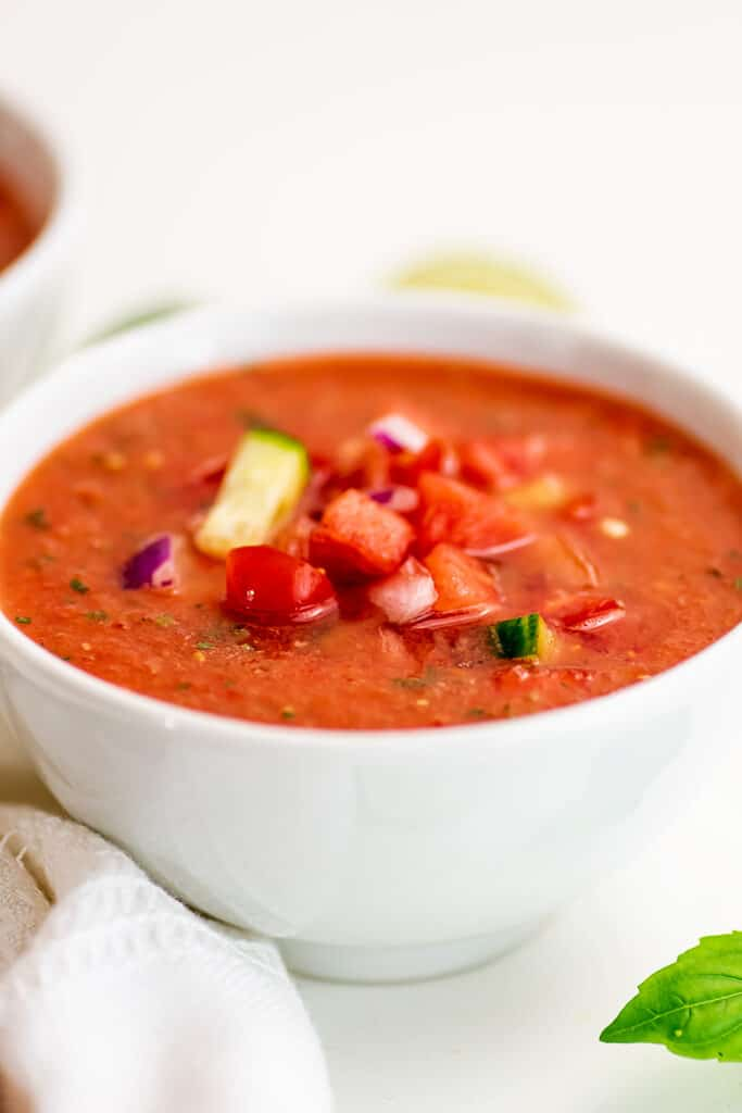 White bowl filled with watermelon gazpacho.