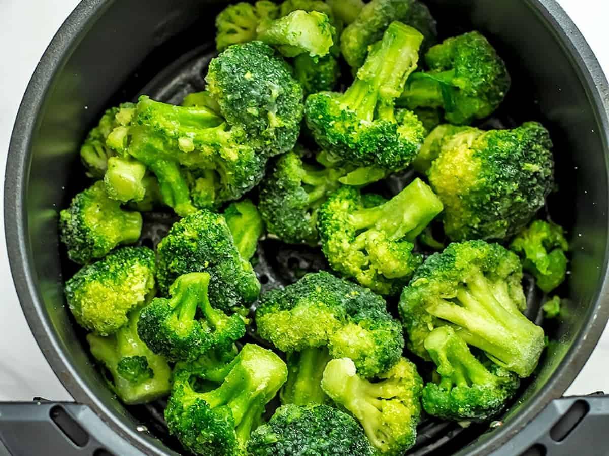 Frozen broccoli in the air fryer.
