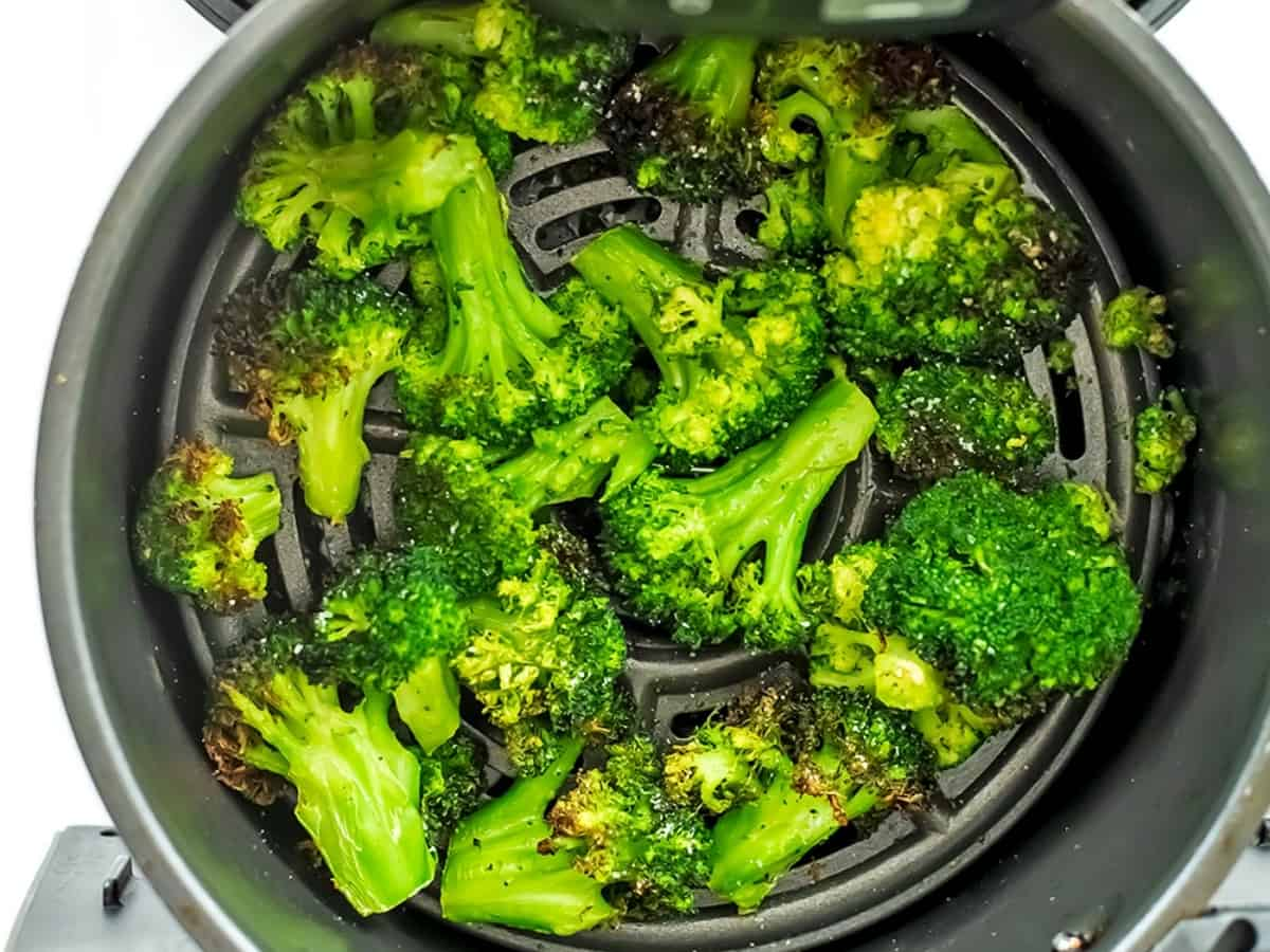 Frozen broccoli after 16 minutes of cooking in air fryer.