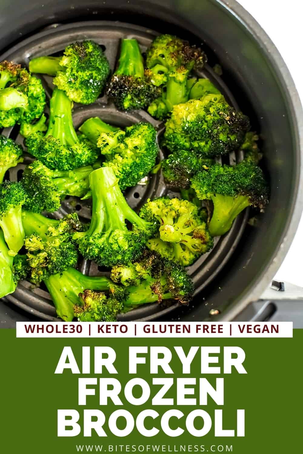 Air fryer frozen broccoli in air fryer after cooking.