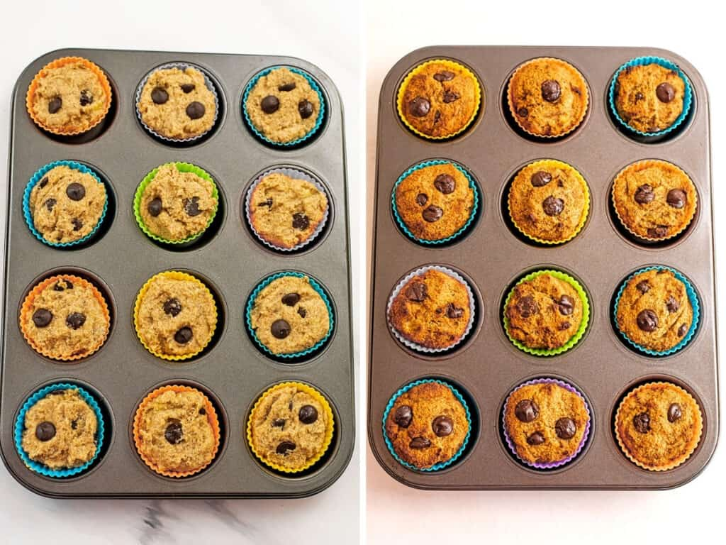 Almond flour banana muffins before and after baking.