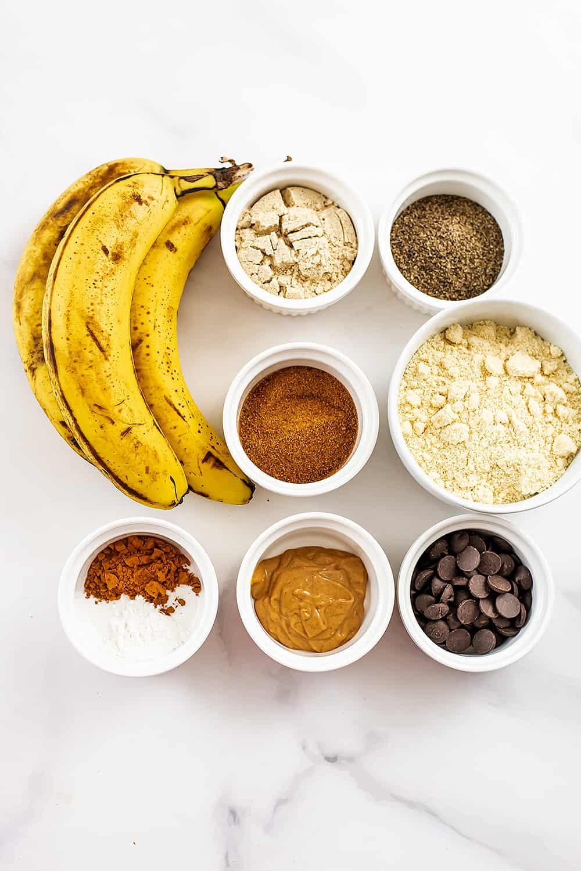 Ingredients to make almond flour banana muffins.