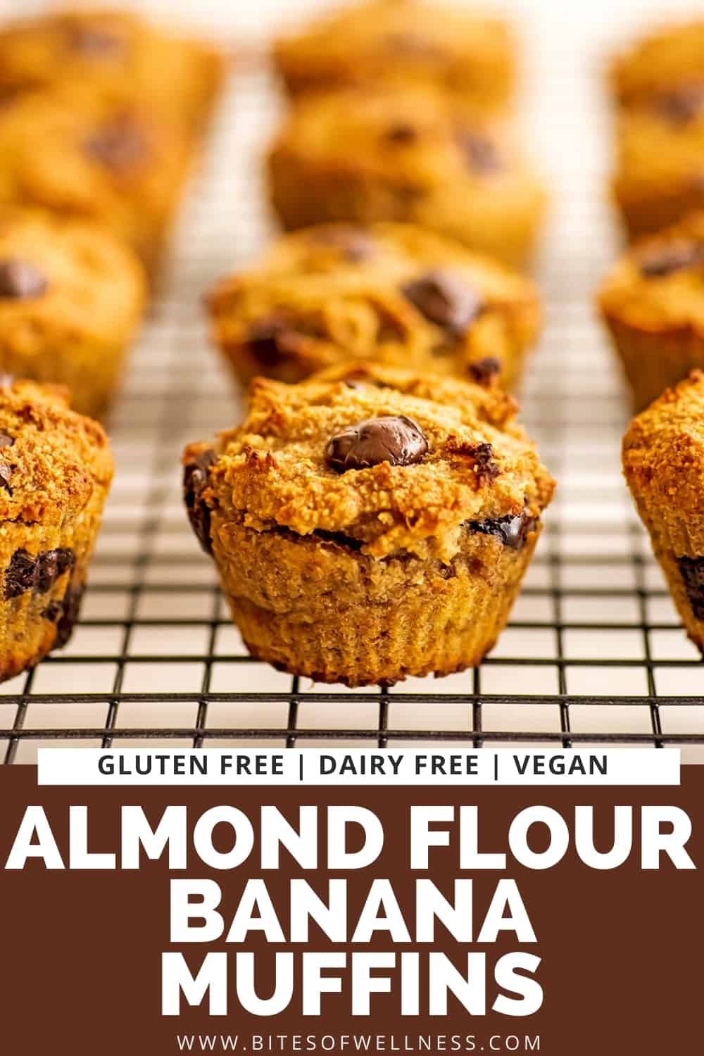 Almond flour banana muffins on a wire cooling rack.