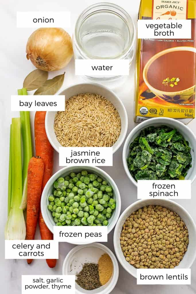 Ingredients to make brown rice lentil soup.
