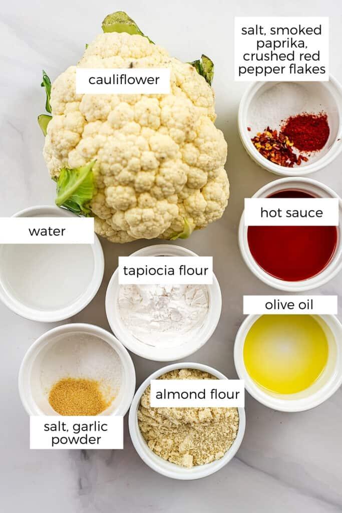 Ingredients to make vegan buffalo cauliflower.