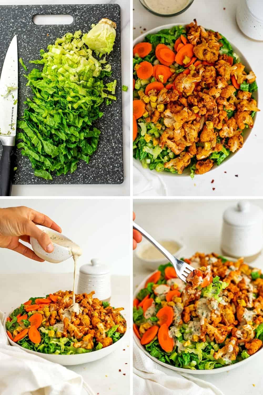 Steps to make buffalo cauliflower salad.