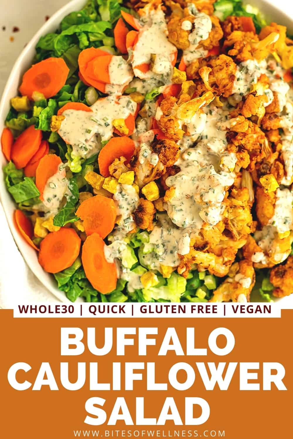 Large bowl filled with buffalo cauliflower salad with tahini ranch.