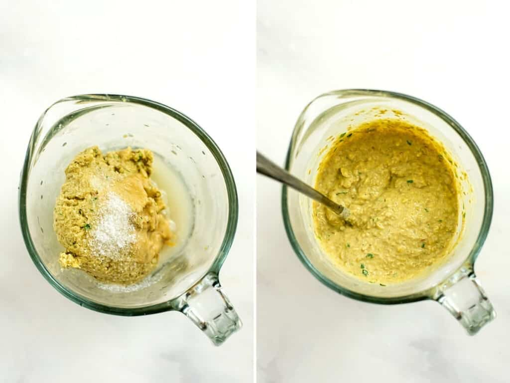 Before and after making the hummus pasta sauce.