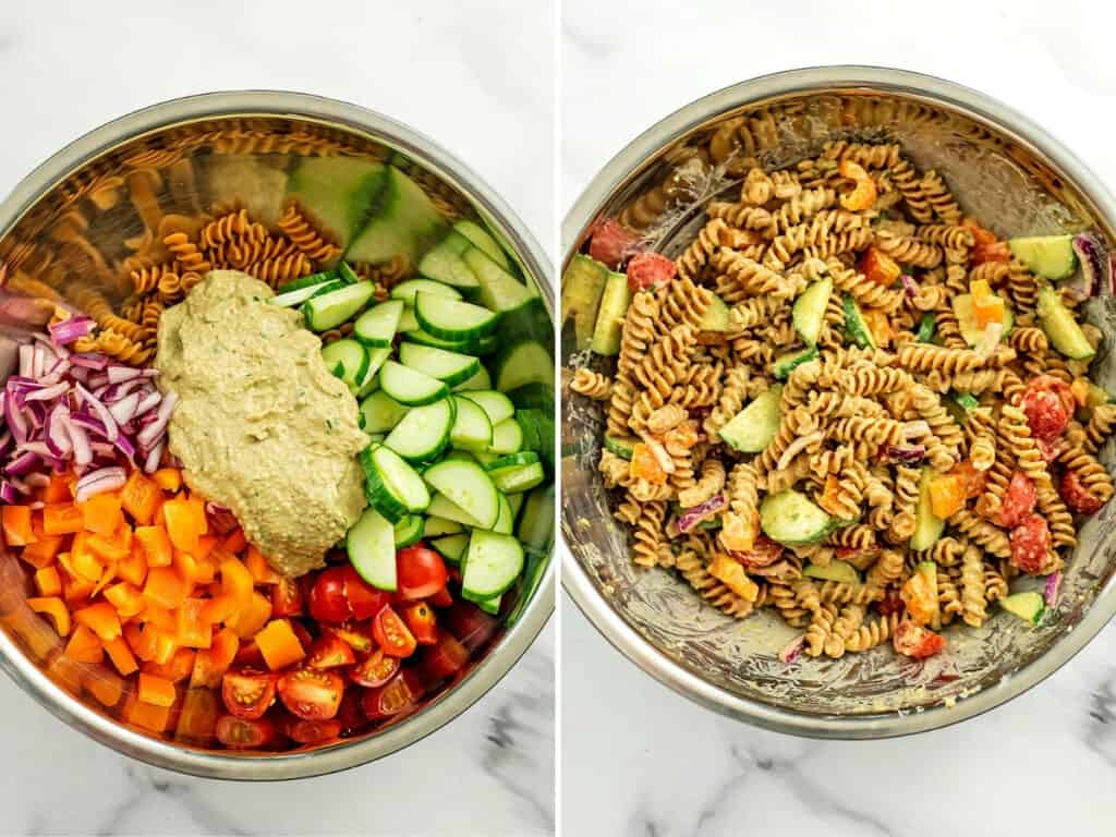 Before and after stirring the hummus pasta salad.