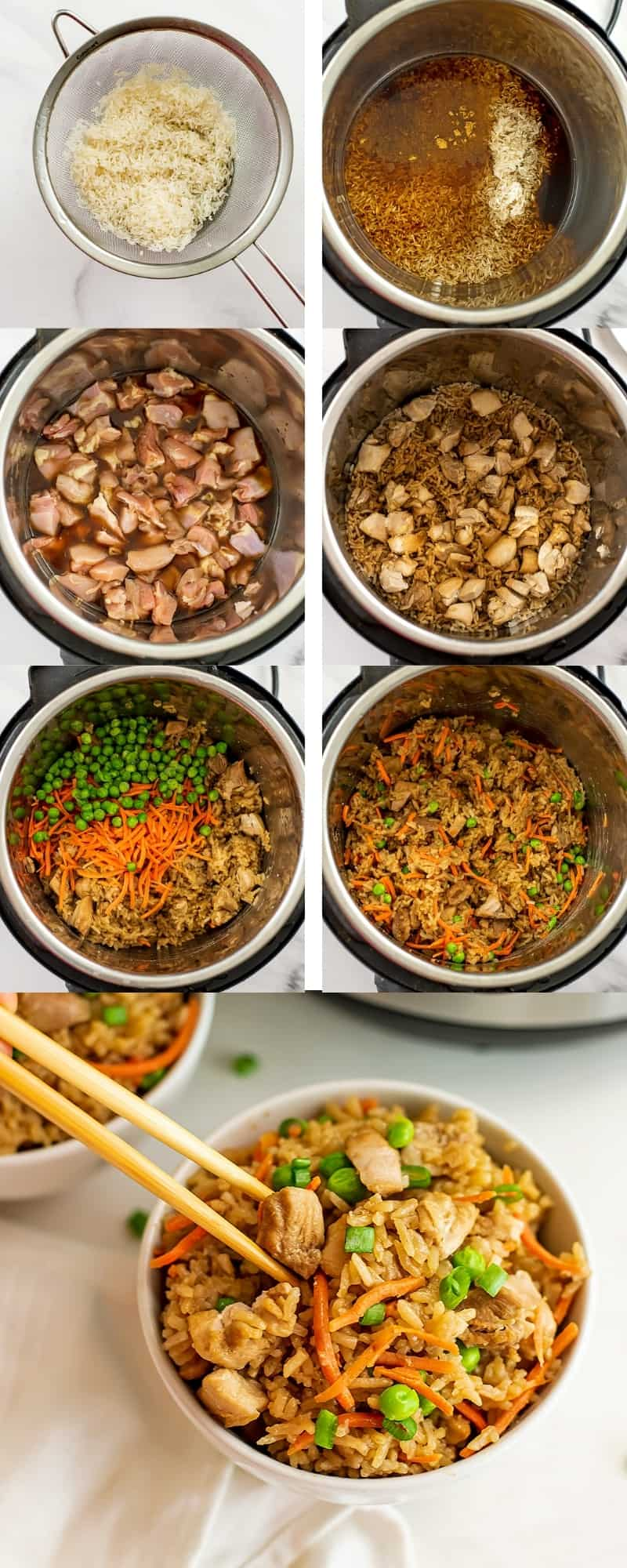 Steps to make instant pot chicken fried rice.