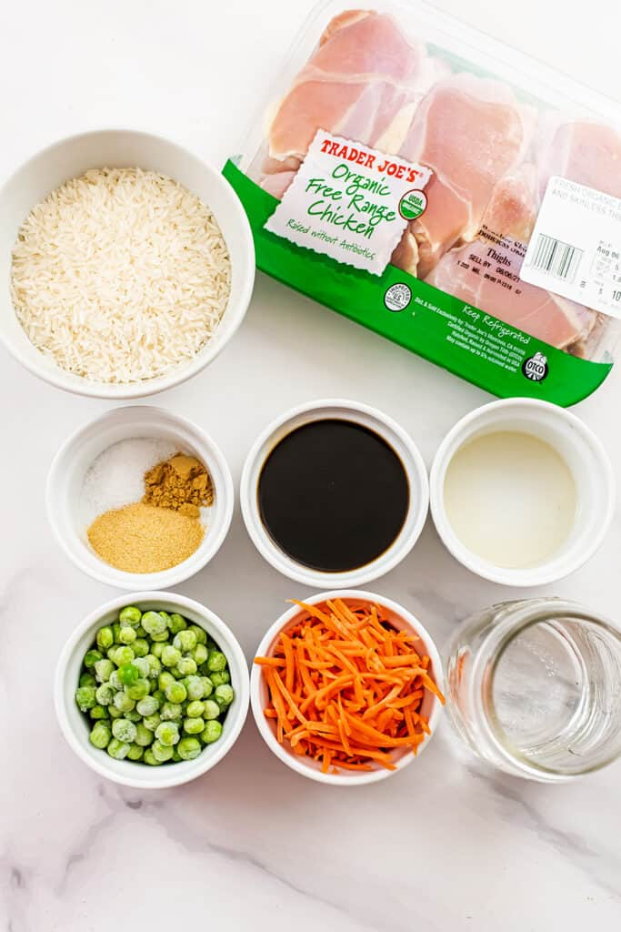 Ingredients to make instant pot chicken fried rice.