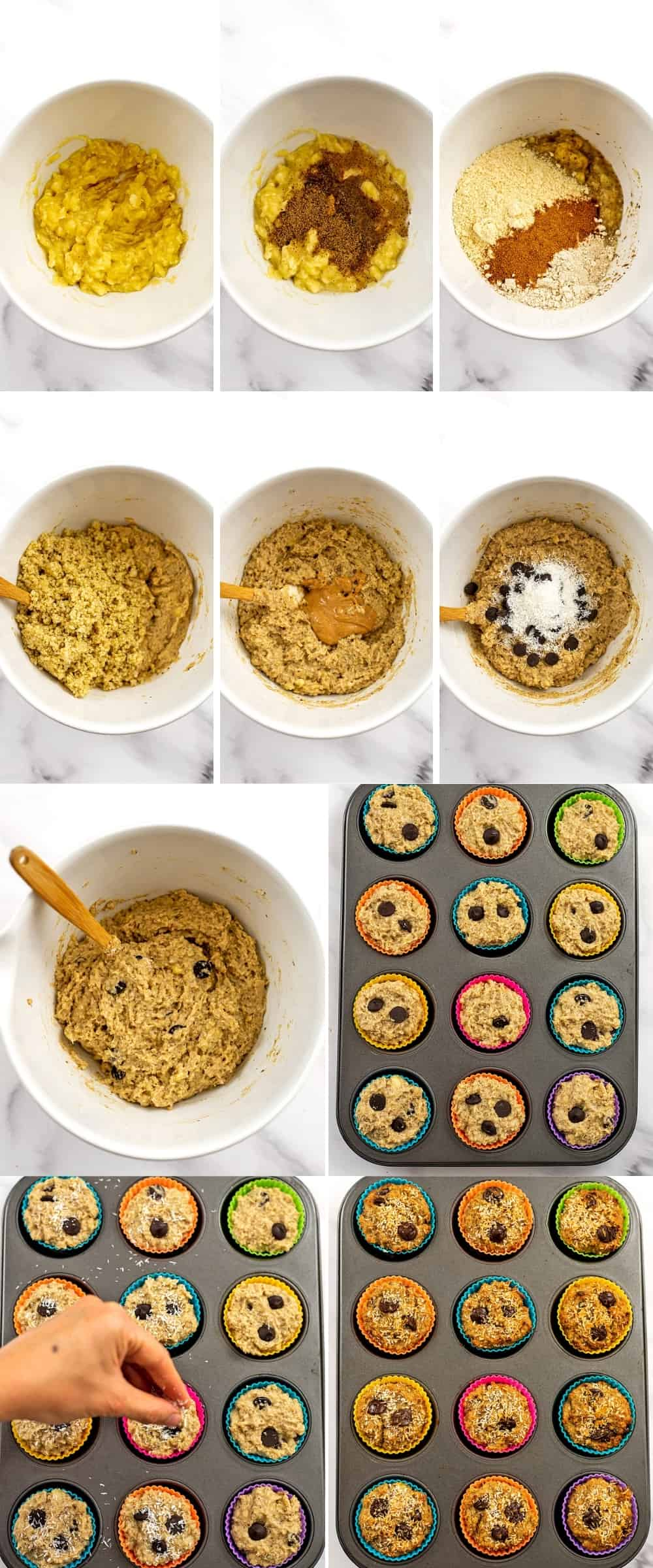 Instructions on how to make quinoa banana muffins.