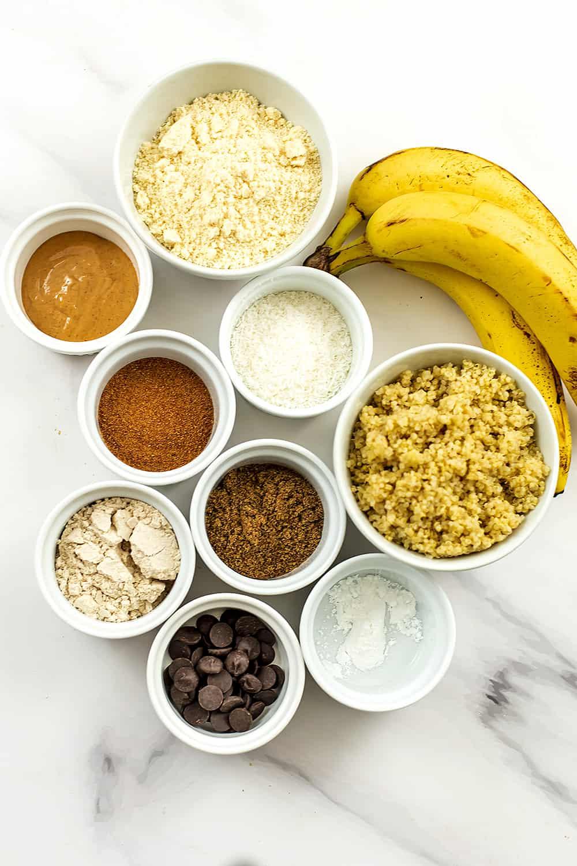 Ingredients to make quinoa banana muffins.