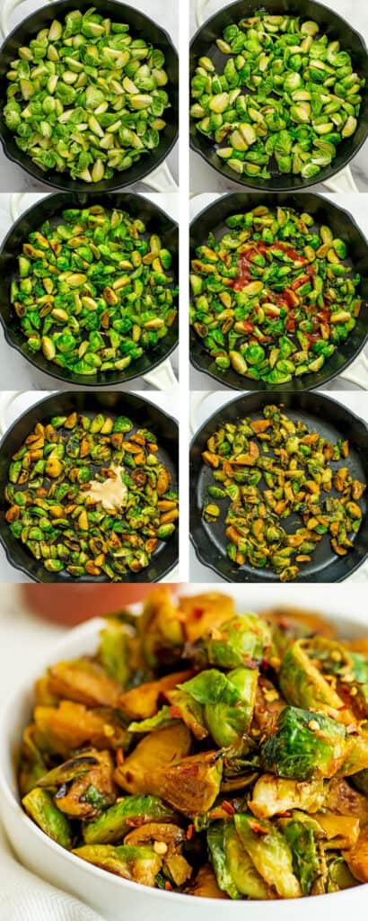 Steps to make sriracha brussel sprouts.
