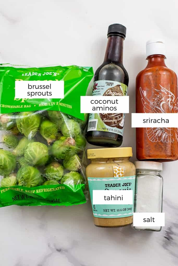 Ingredients to make sriracha brussel sprouts.