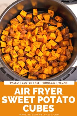 Sweet potato cubes in air fryer basket after cooking.