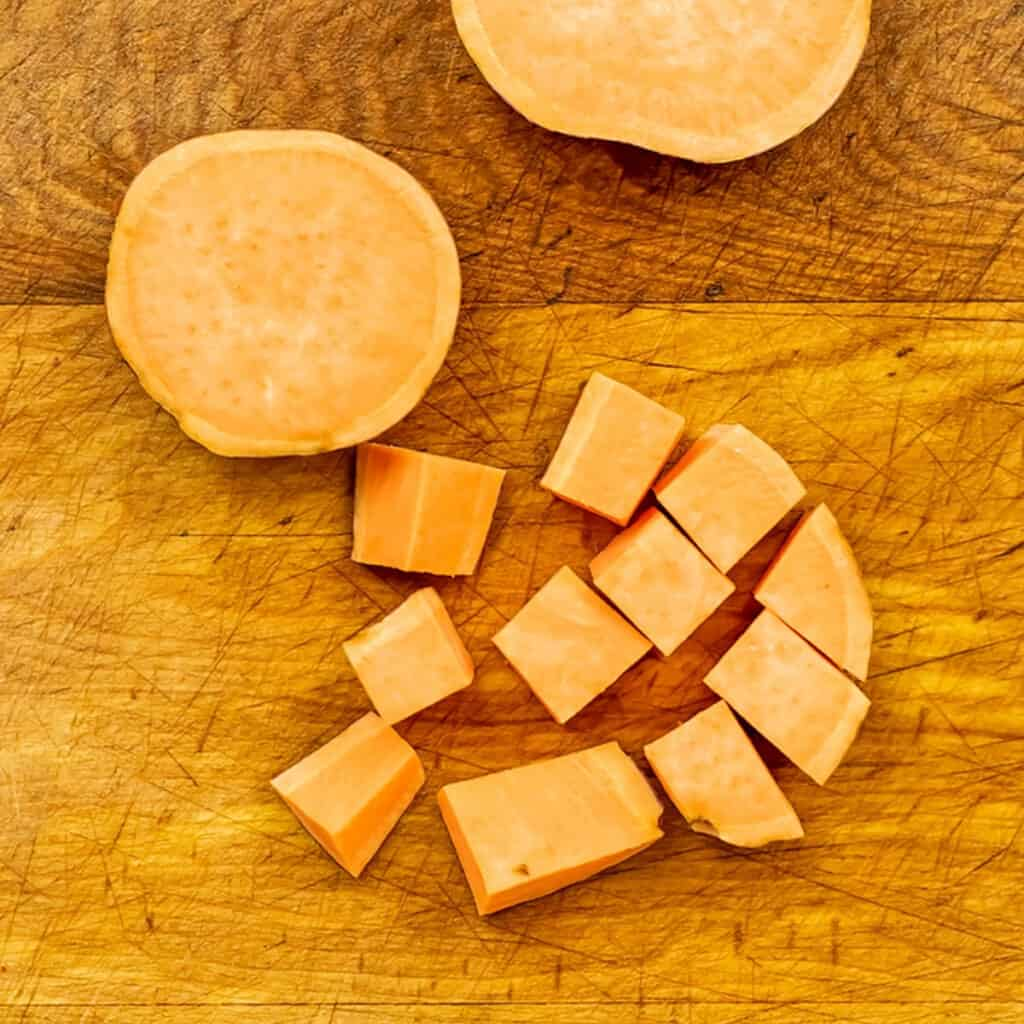 Sweet potatoes cut into 1/2 inch cubes.