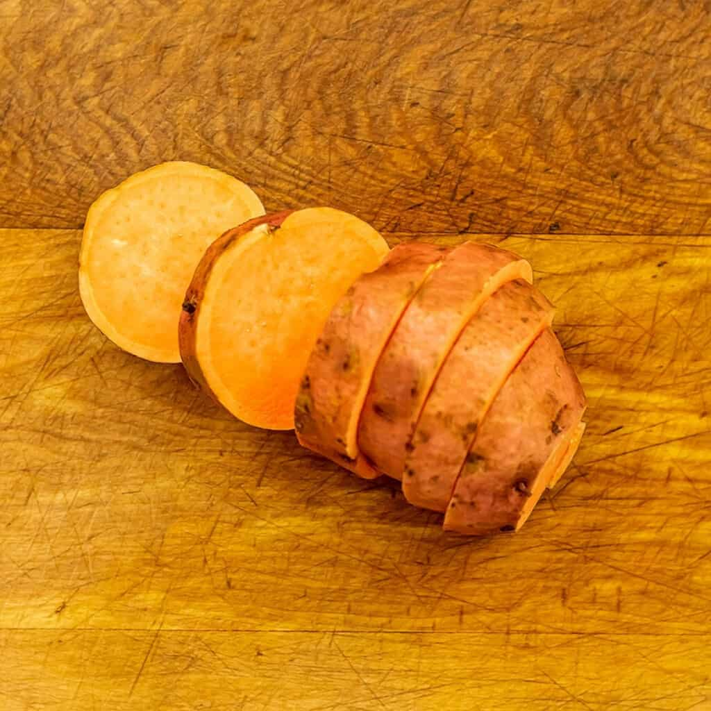 Sweet potatoes cut into 1/2 inch disks.