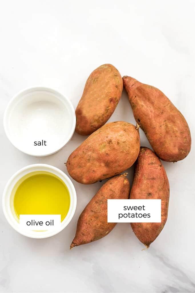 Ingredients to make air fryer sweet potato cubes