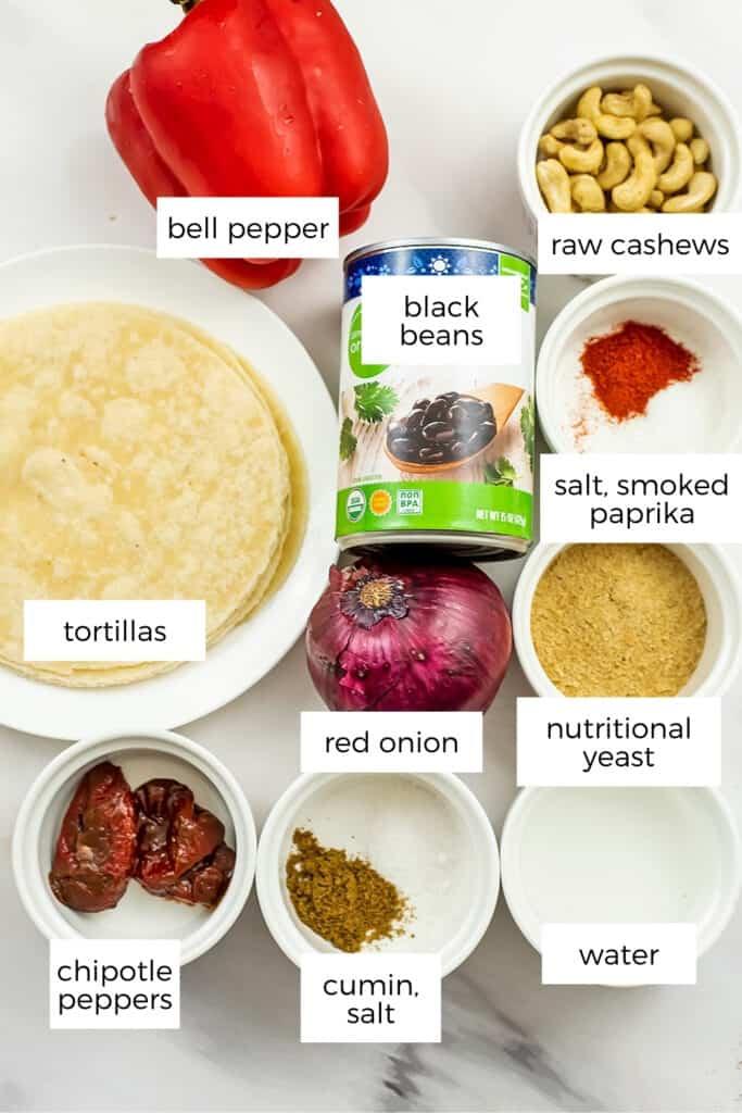 Ingredients to make vegan taquitos (air fryer or oven).