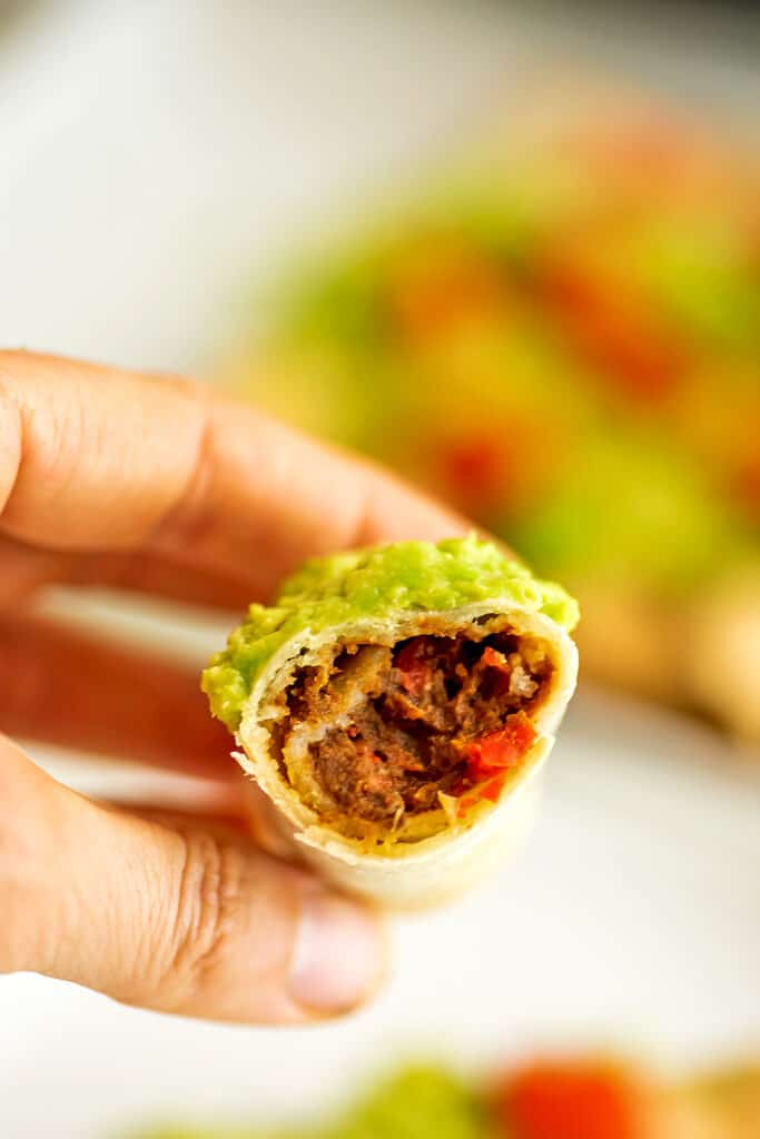Center of a vegan taquito being held by a hand.