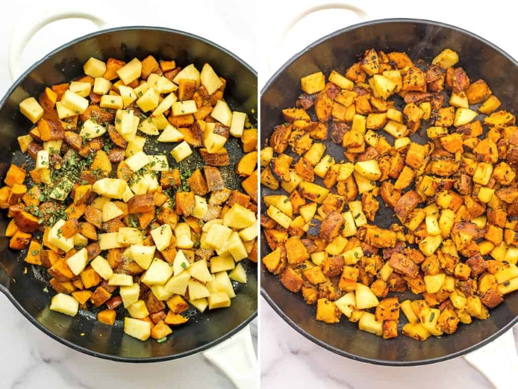 Before and after cooking the apples in the hash.