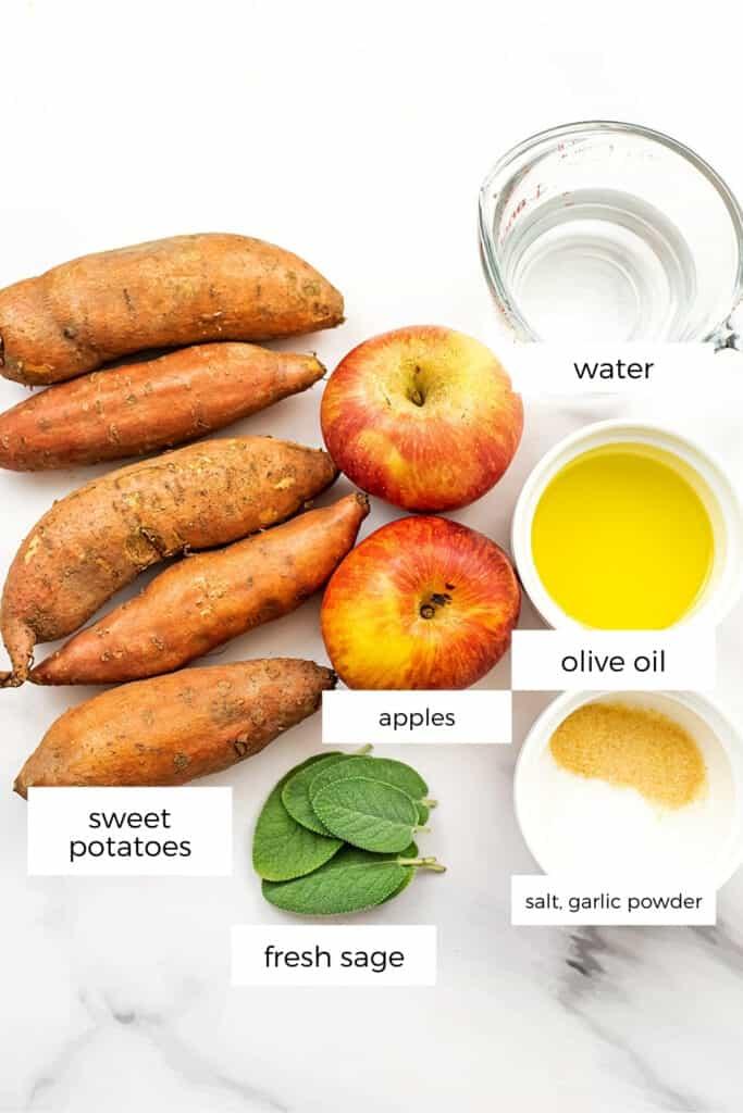 ingredients to make apple sweet potato hash.