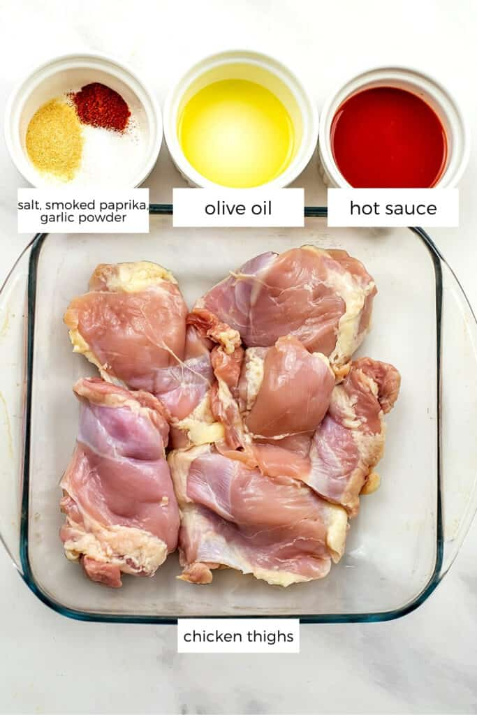 Ingredients to make buffalo chicken thighs.