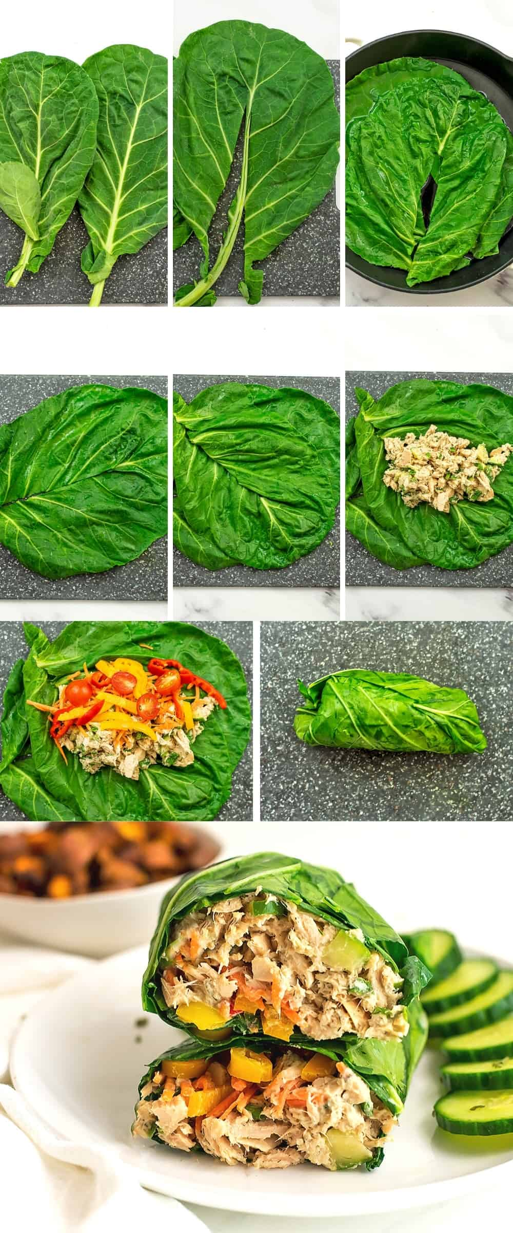 Instructions on how to make a collard green wrap.
