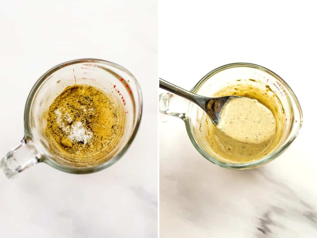 Dressing before and after mixing in glass measuring cup.