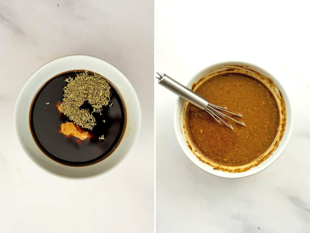 Before and after stirring the creamy balsamic dressing.