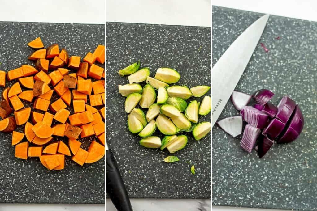 How to chop veggies for fall quinoa salad.