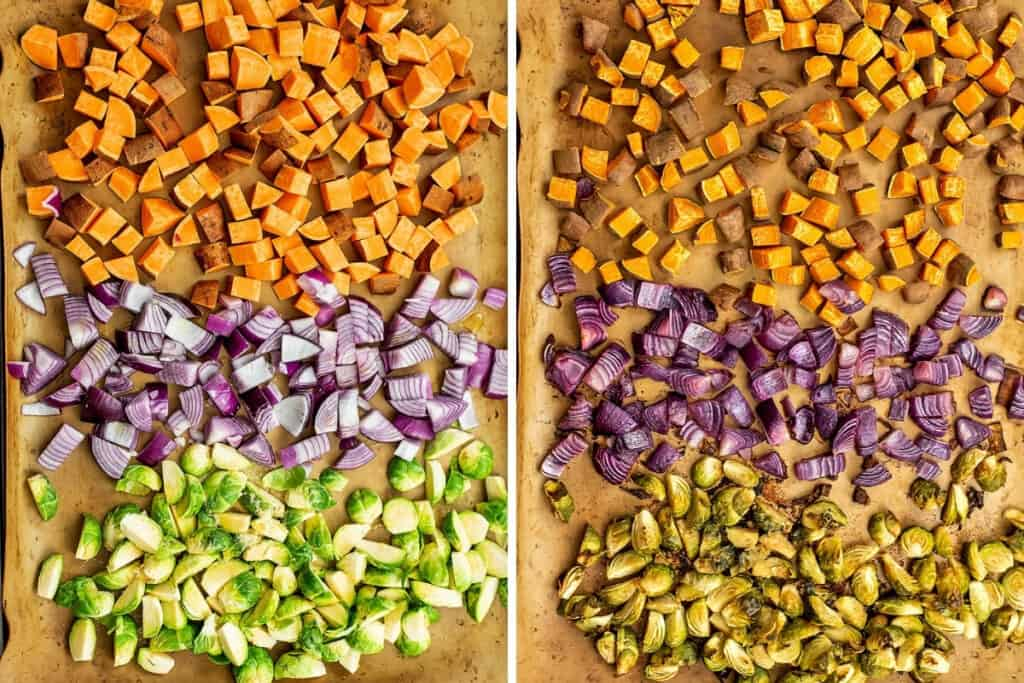 Before and after roasting veggies for fall quinoa salad.