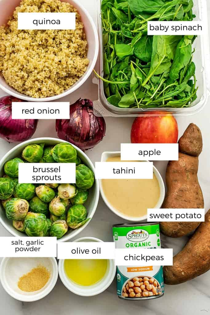 Ingredients to make a fall quinoa salad