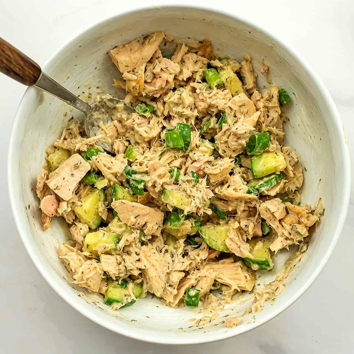 Low FODMAP tuna salad after stirring.