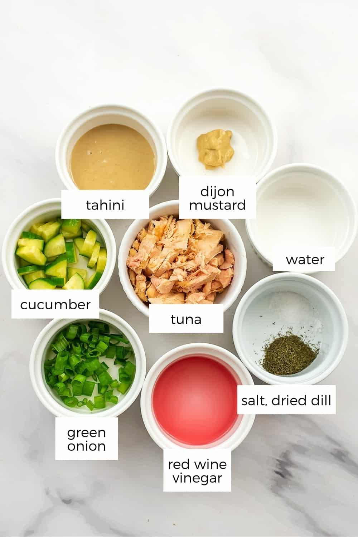 Ingredients to make low FODMAP tuna salad.