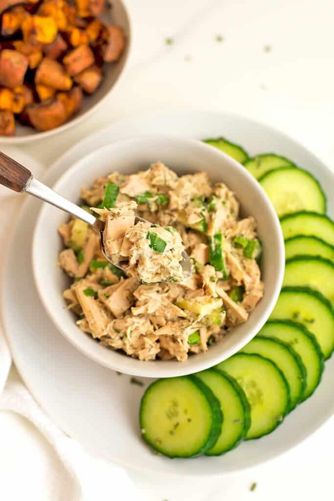 Spoonful of low fodmap tuna salad.