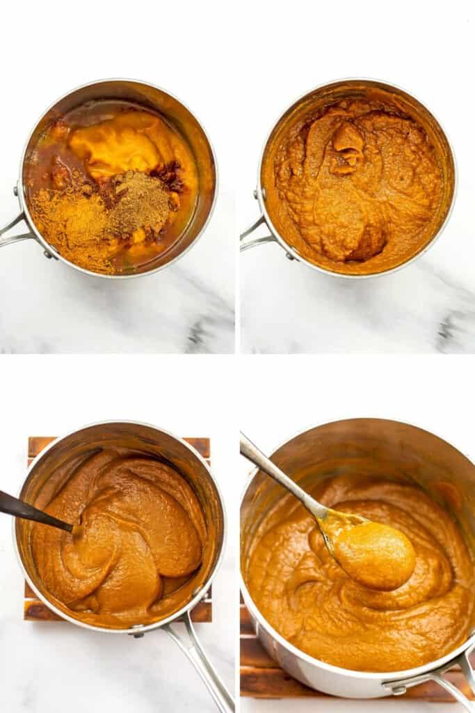 Steps to make maple pumpkin butter.