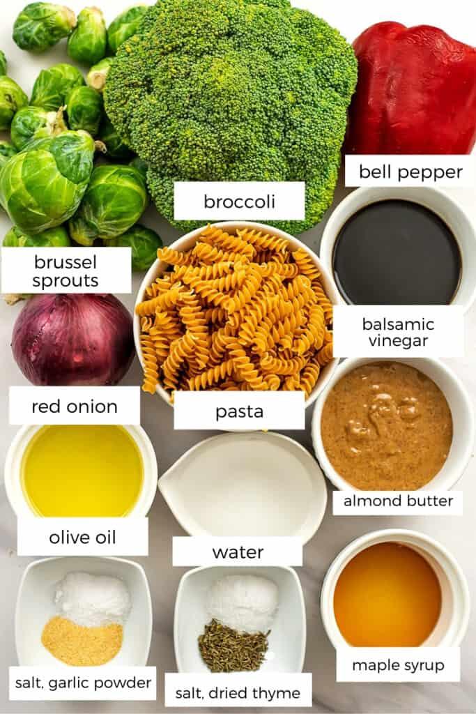 Ingredients for roasted vegetable pasta salad.