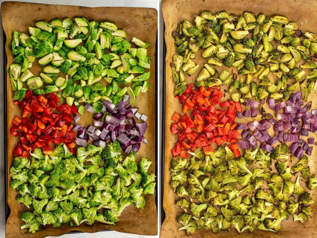 Before and after roasting veggies in oven.