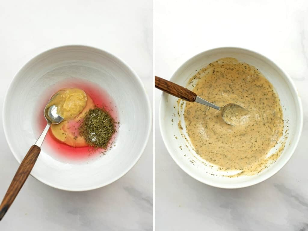 Before and after making the tahini dressing in the bowl.
