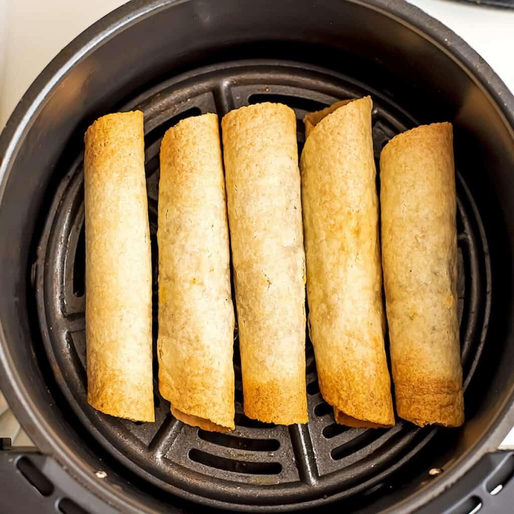 Air fryer vegan taqhtos after cooking.