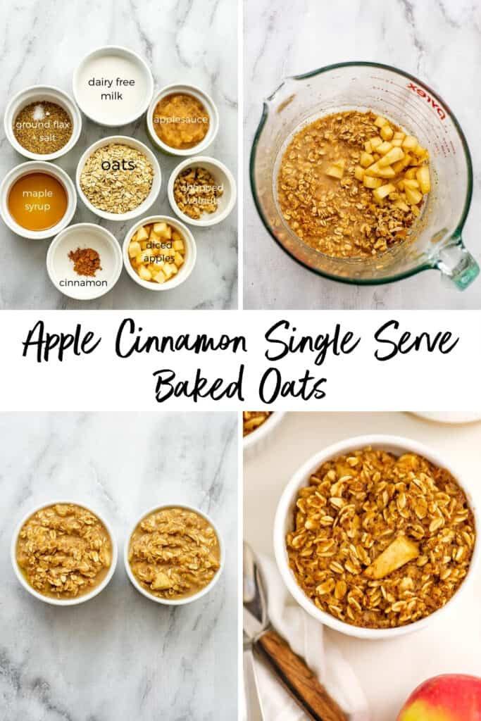 Steps on how to make apple cinnamon baked oats for one.