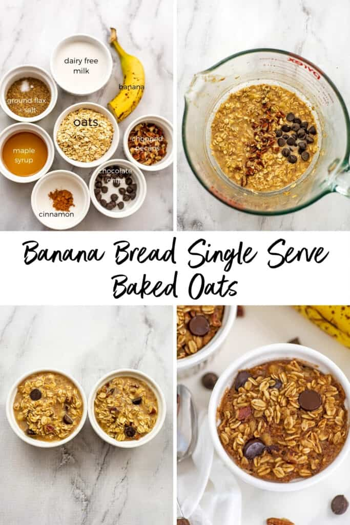 Steps on how to make banana bread baked oats for one.