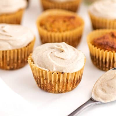 Cupcakes topped with cashew frosting.